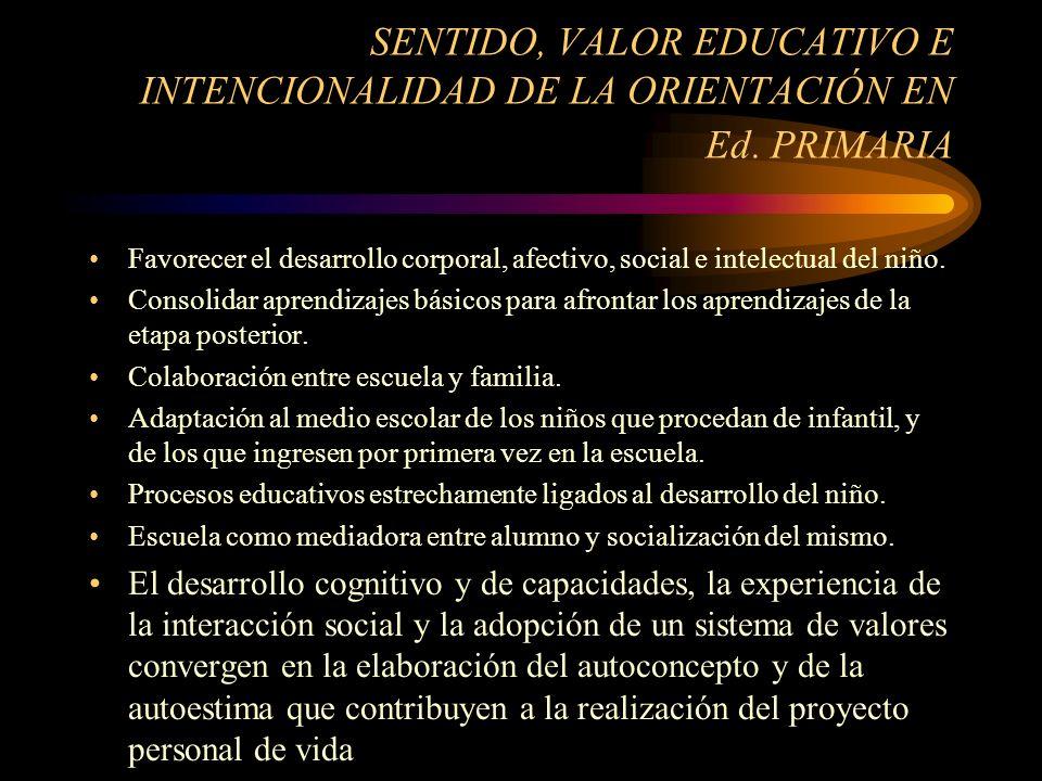 SENTIDO, VALOR EDUCATIVO E INTENCIONALIDAD DE LA ORIENTACIÓN EN Ed