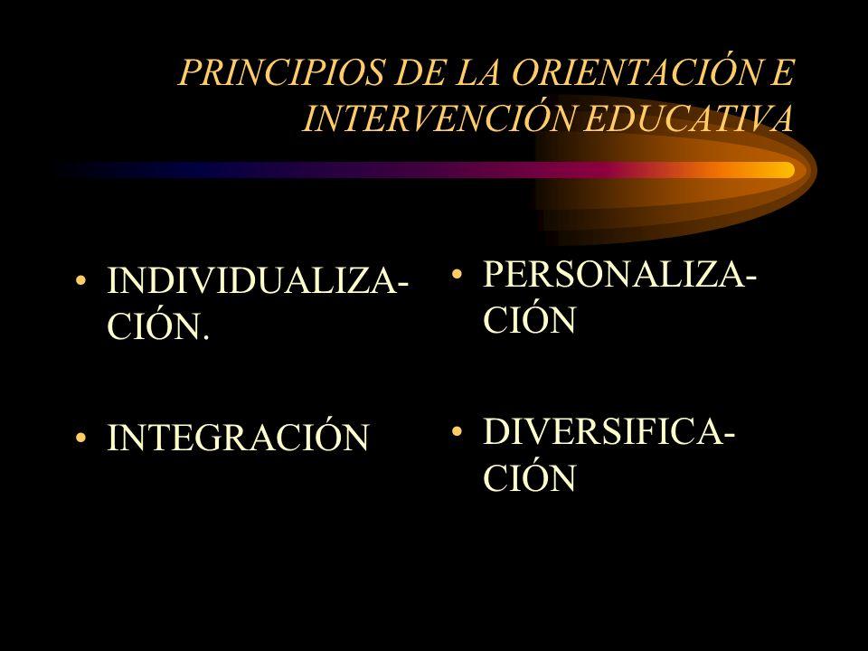 PRINCIPIOS DE LA ORIENTACIÓN E INTERVENCIÓN EDUCATIVA