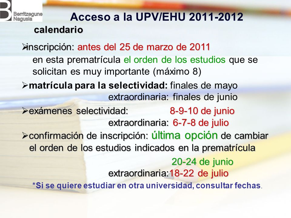 Acceso a la UPV/EHU 2011-2012 calendario