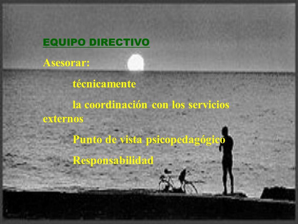 la coordinación con los servicios externos