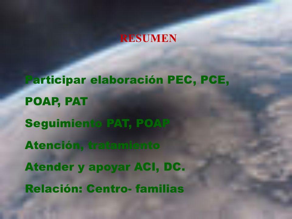 RESUMEN Participar elaboración PEC, PCE, POAP, PAT Seguimiento PAT, POAP Atención, tratamiento Atender y apoyar ACI, DC.