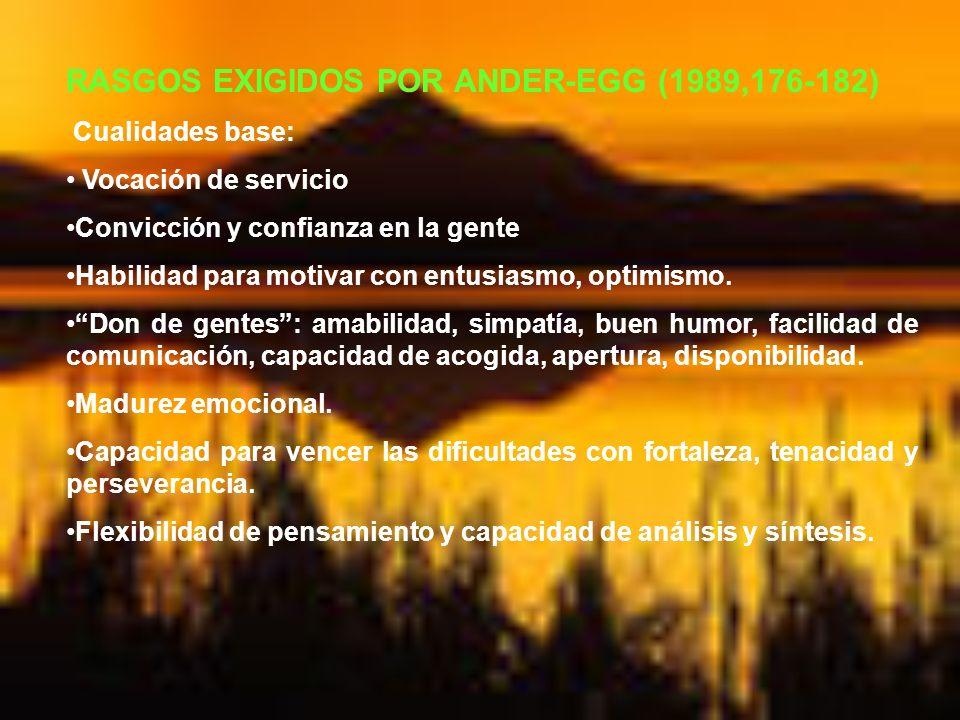 RASGOS EXIGIDOS POR ANDER-EGG (1989,176-182)