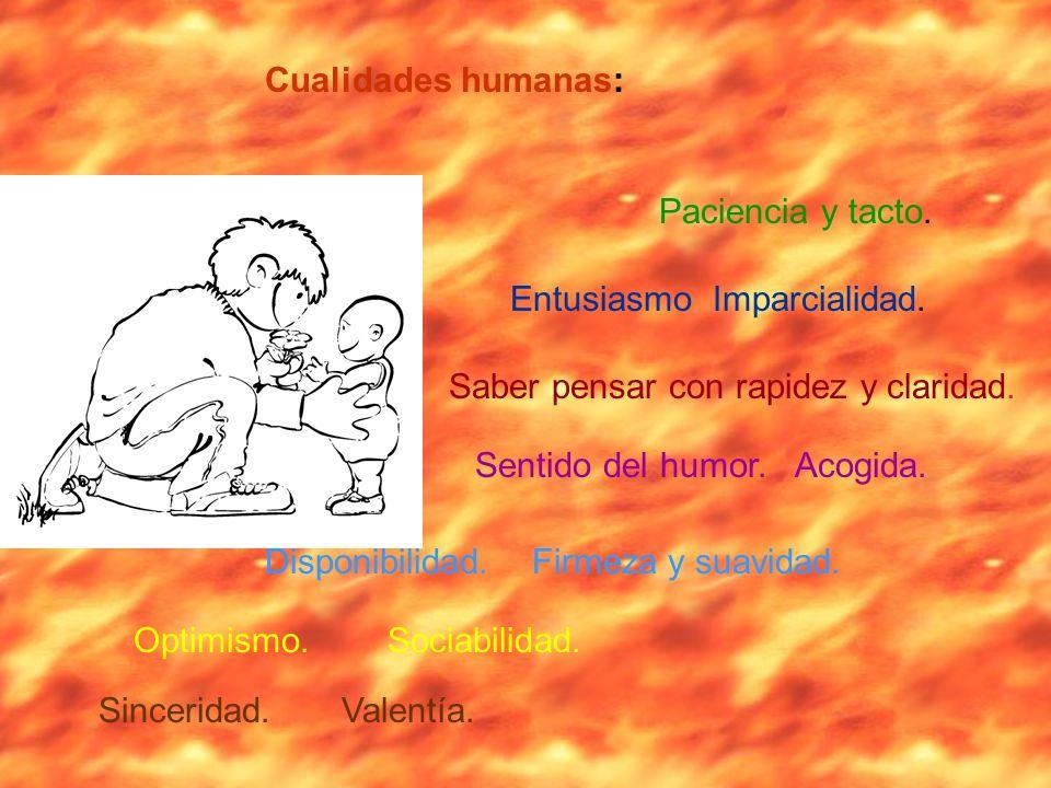 Cualidades humanas: Paciencia y tacto. Entusiasmo Imparcialidad. Saber pensar con rapidez y claridad.