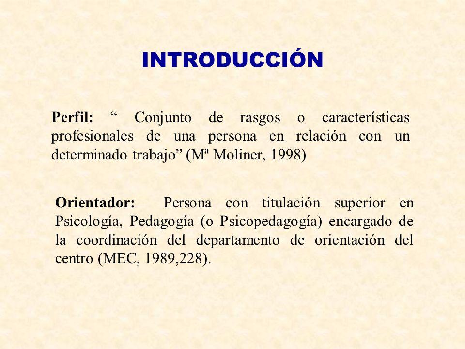 INTRODUCCIÓN Perfil: Conjunto de rasgos o características profesionales de una persona en relación con un determinado trabajo (Mª Moliner, 1998)