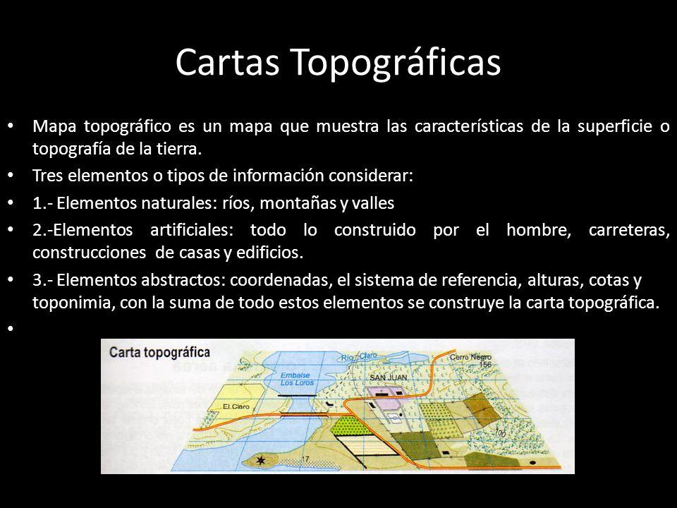 Cartas Topográficas Mapa topográfico es un mapa que muestra las características de la superficie o topografía de la tierra.