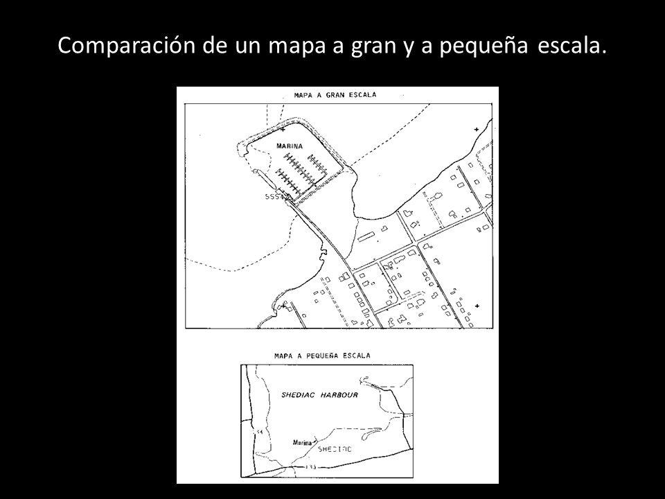 Comparación de un mapa a gran y a pequeña escala.