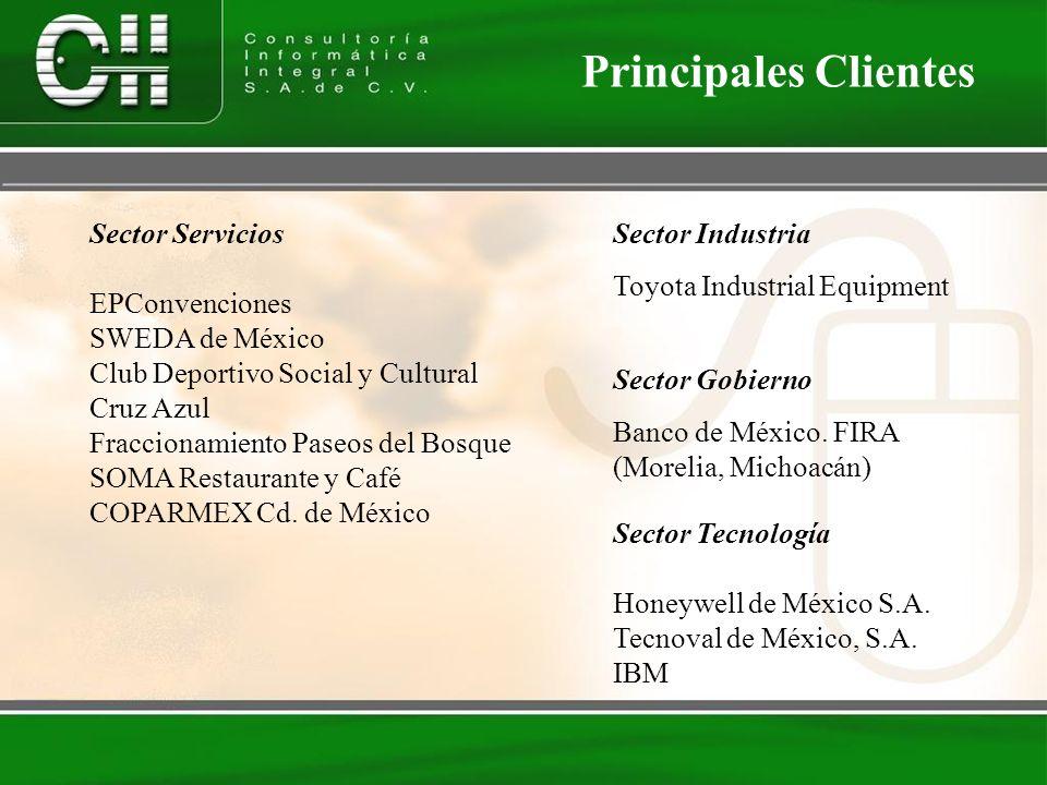 Principales Clientes Sector Servicios EPConvenciones SWEDA de México