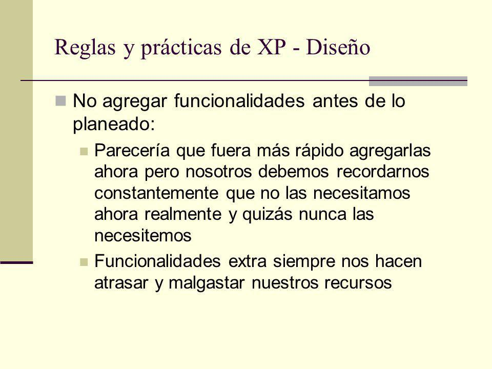 Reglas y prácticas de XP - Diseño
