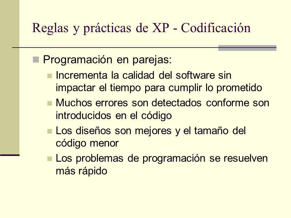 Reglas y prácticas de XP - Codificación