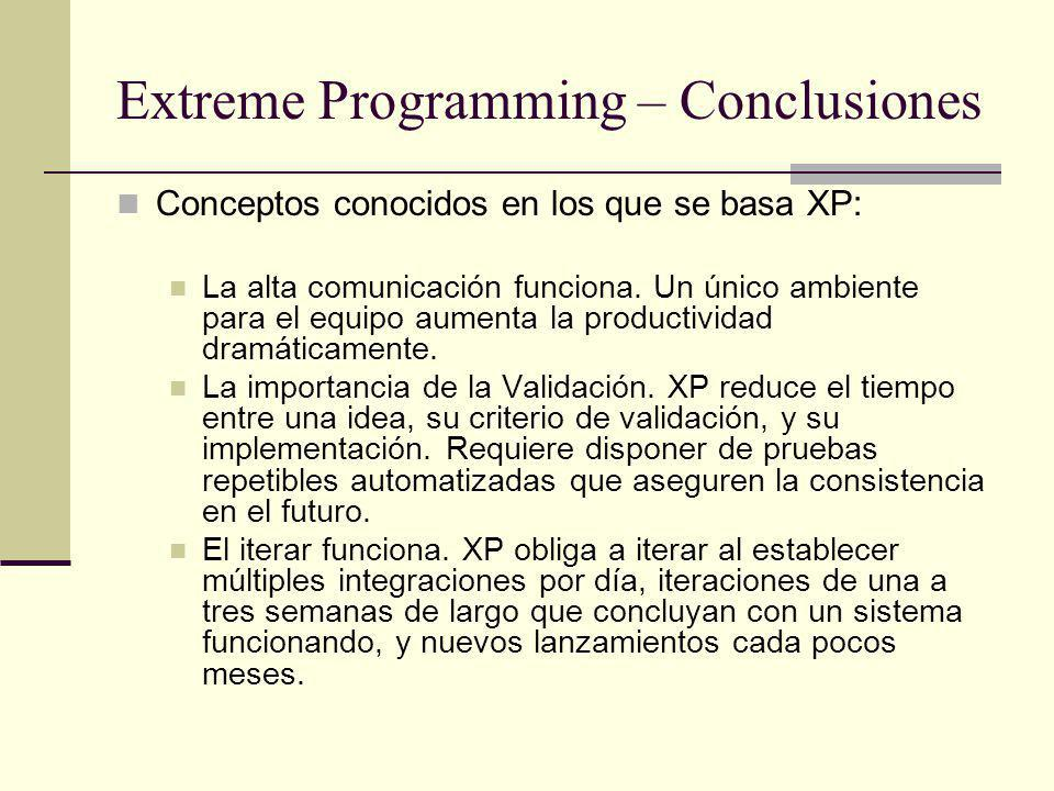 Extreme Programming – Conclusiones