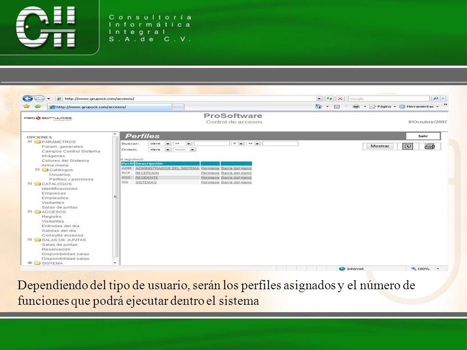 Dependiendo del tipo de usuario, serán los perfiles asignados y el número de funciones que podrá ejecutar dentro el sistema