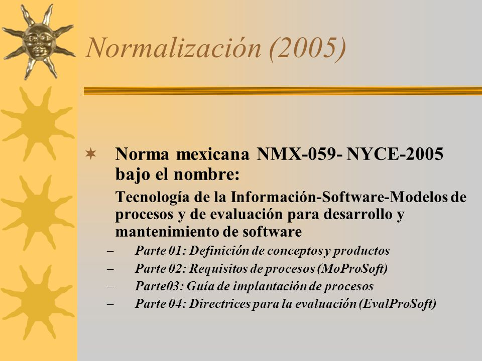 Normalización (2005) Norma mexicana NMX-059- NYCE-2005 bajo el nombre: