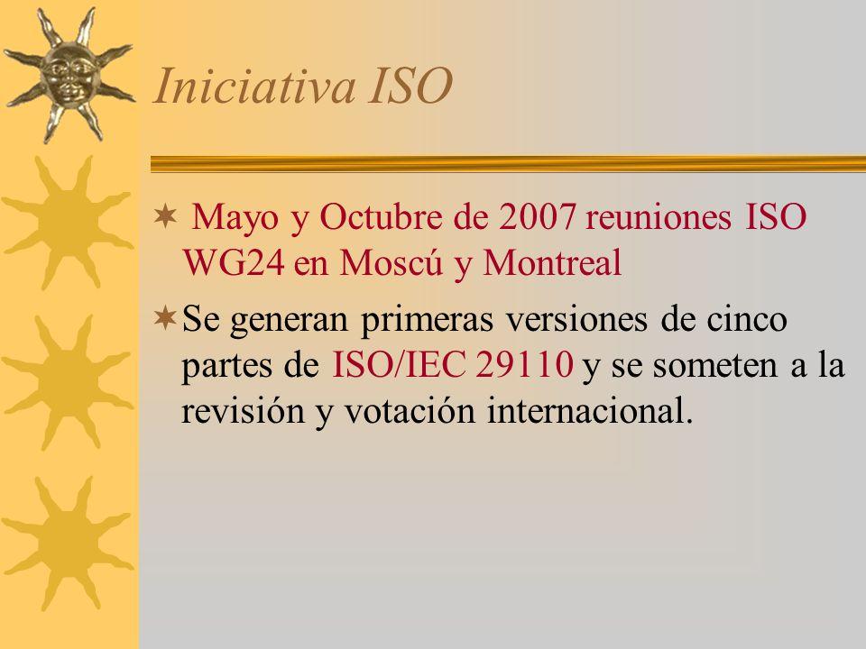 Iniciativa ISO Mayo y Octubre de 2007 reuniones ISO WG24 en Moscú y Montreal.