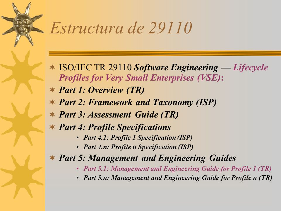 Estructura de 29110 ISO/IEC TR 29110 Software Engineering — Lifecycle Profiles for Very Small Enterprises (VSE):