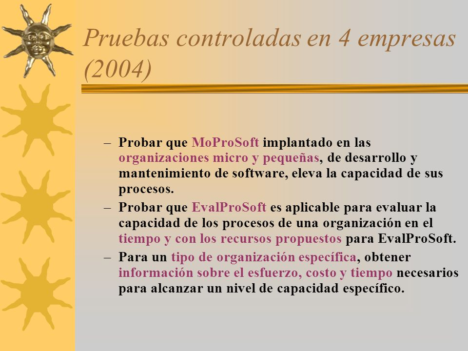 Pruebas controladas en 4 empresas (2004)