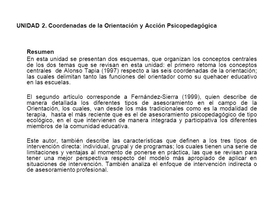 UNIDAD 2. Coordenadas de la Orientación y Acción Psicopedagógica