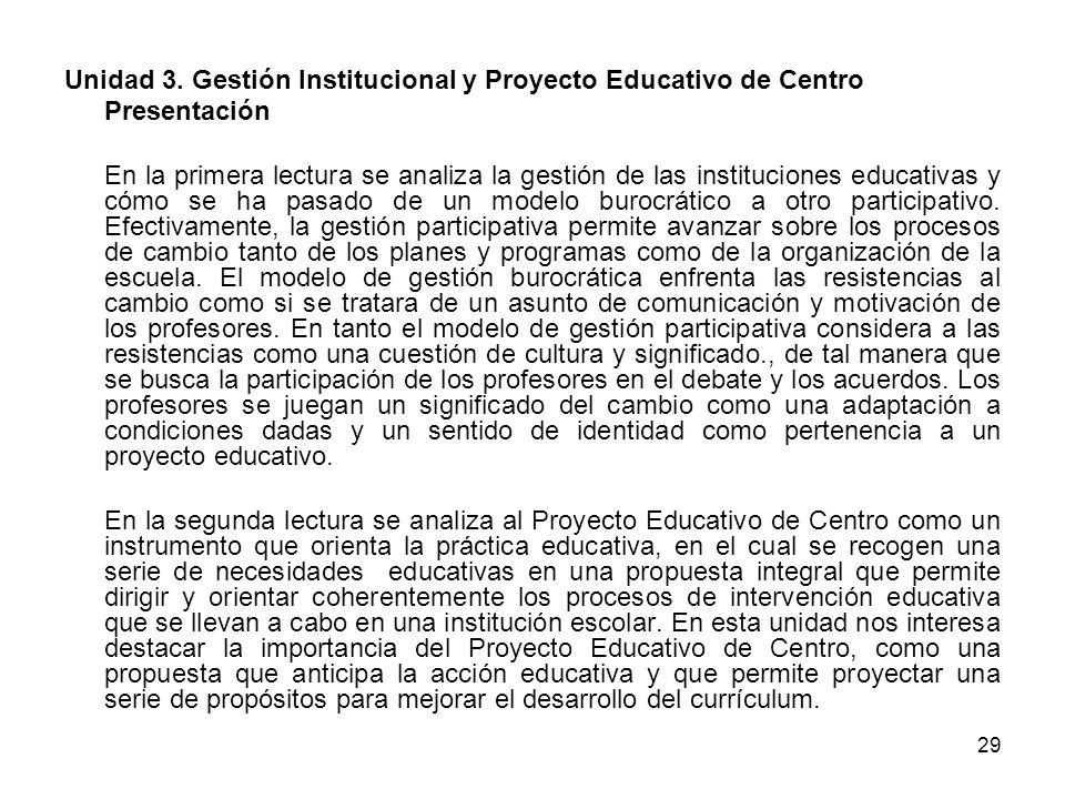 Unidad 3. Gestión Institucional y Proyecto Educativo de Centro