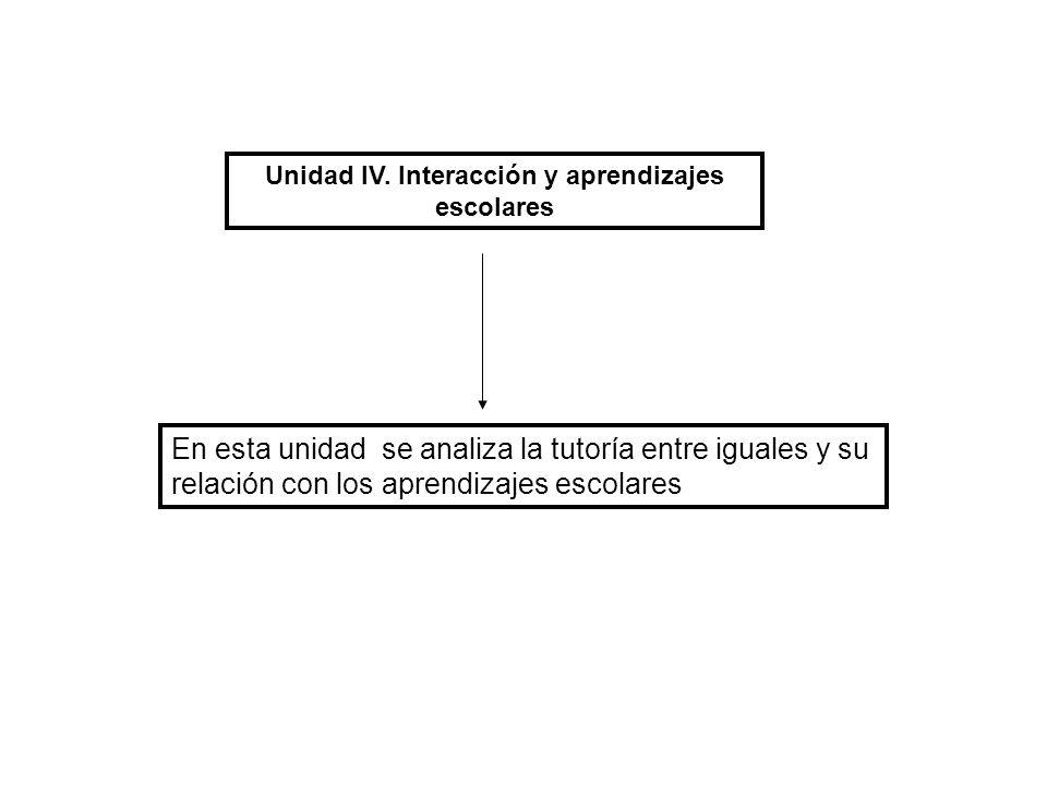 Unidad IV. Interacción y aprendizajes escolares