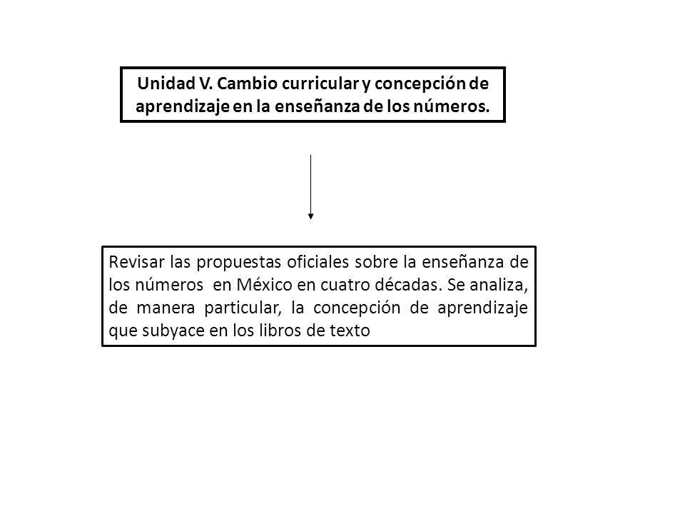 Unidad V. Cambio curricular y concepción de aprendizaje en la enseñanza de los números.