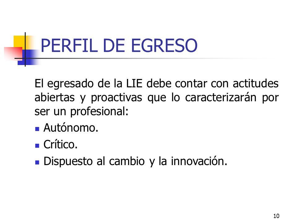 PERFIL DE EGRESOEl egresado de la LIE debe contar con actitudes abiertas y proactivas que lo caracterizarán por ser un profesional: