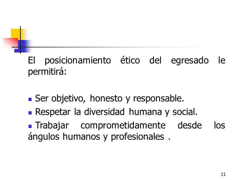 El posicionamiento ético del egresado le permitirá: