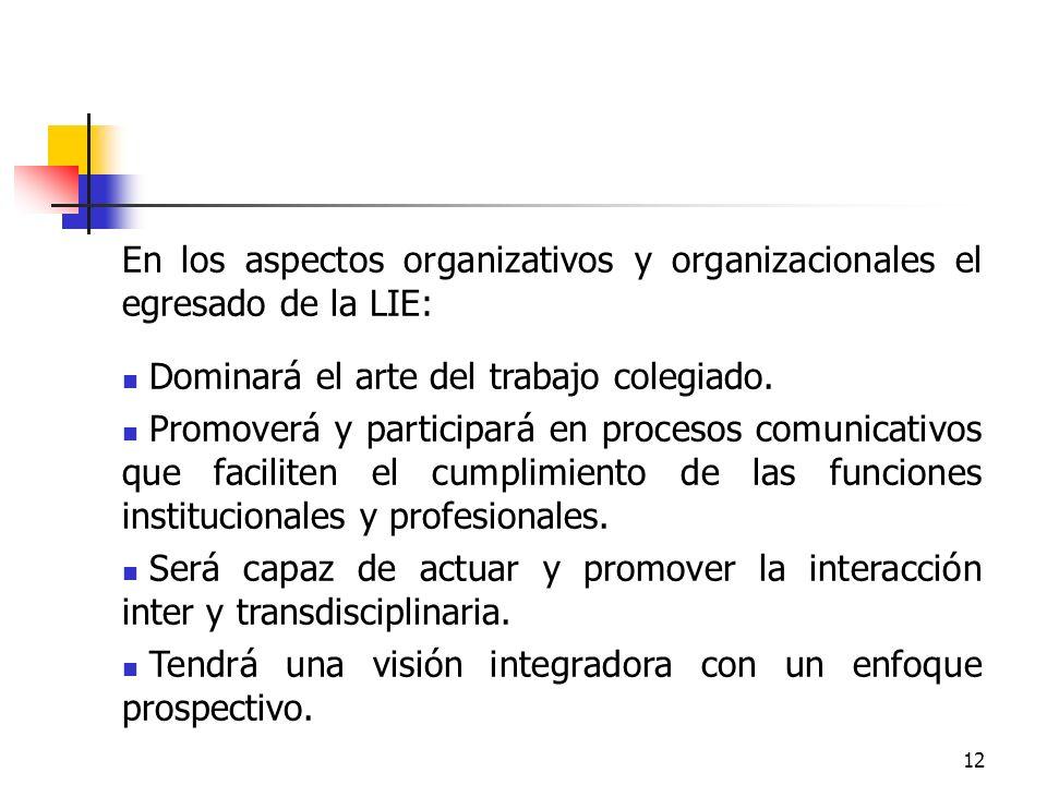 En los aspectos organizativos y organizacionales el egresado de la LIE: