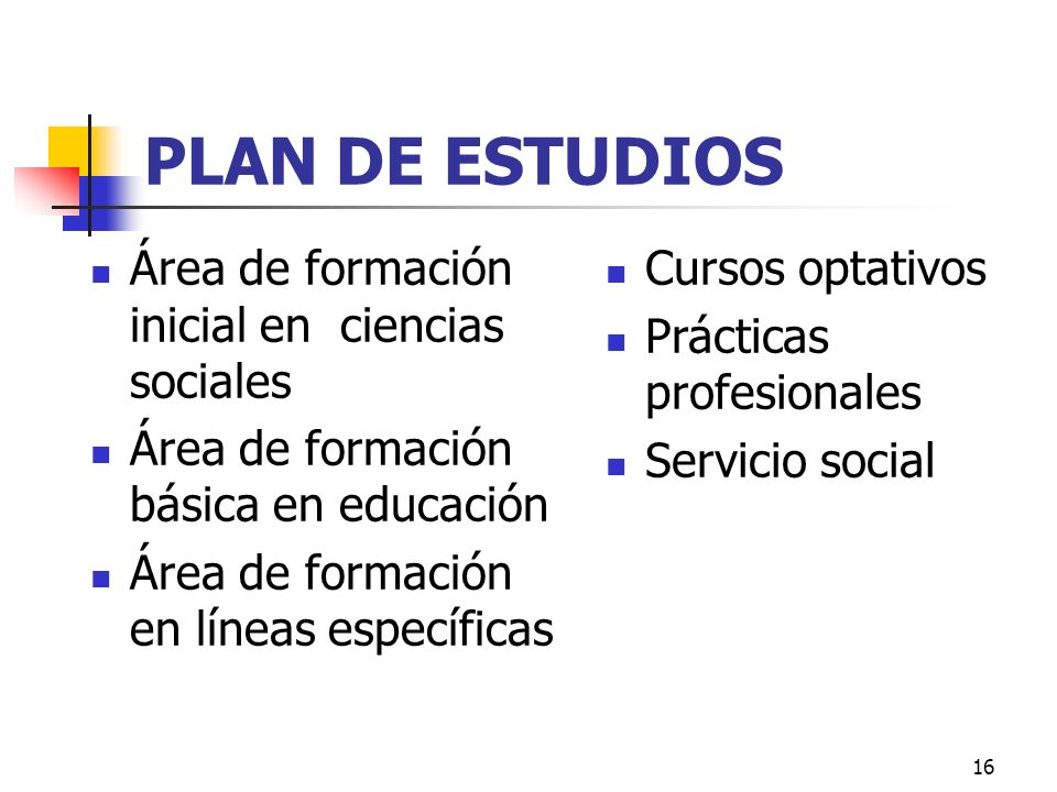 PLAN DE ESTUDIOS Área de formación inicial en ciencias sociales