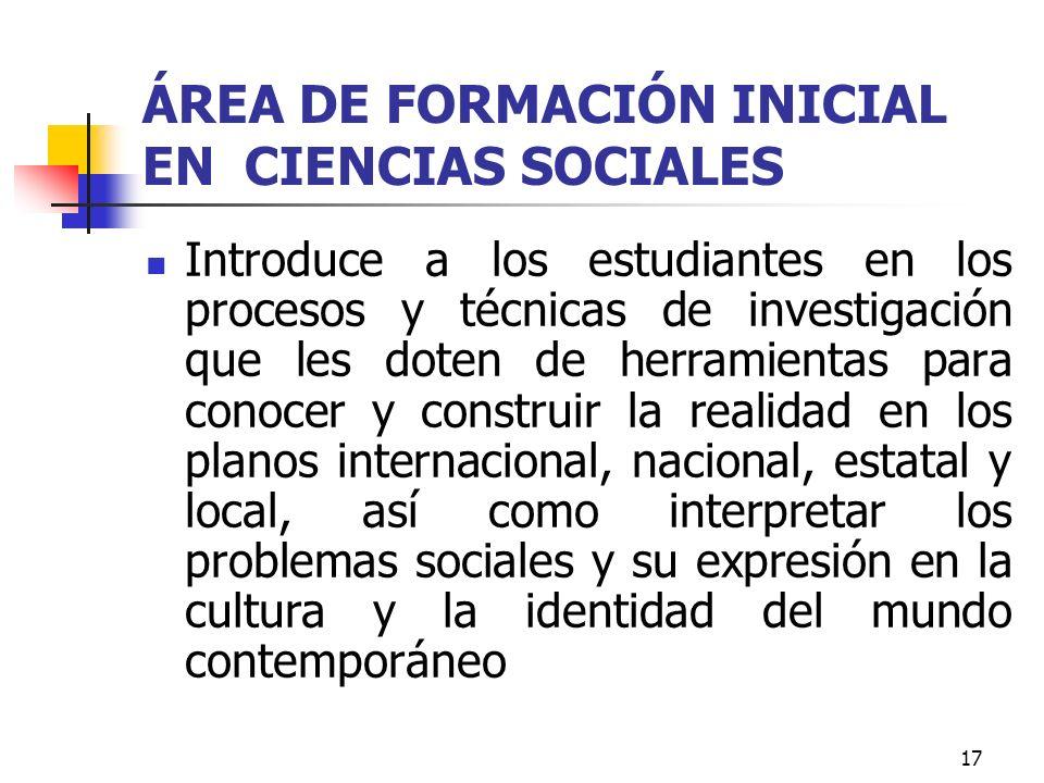 ÁREA DE FORMACIÓN INICIAL EN CIENCIAS SOCIALES