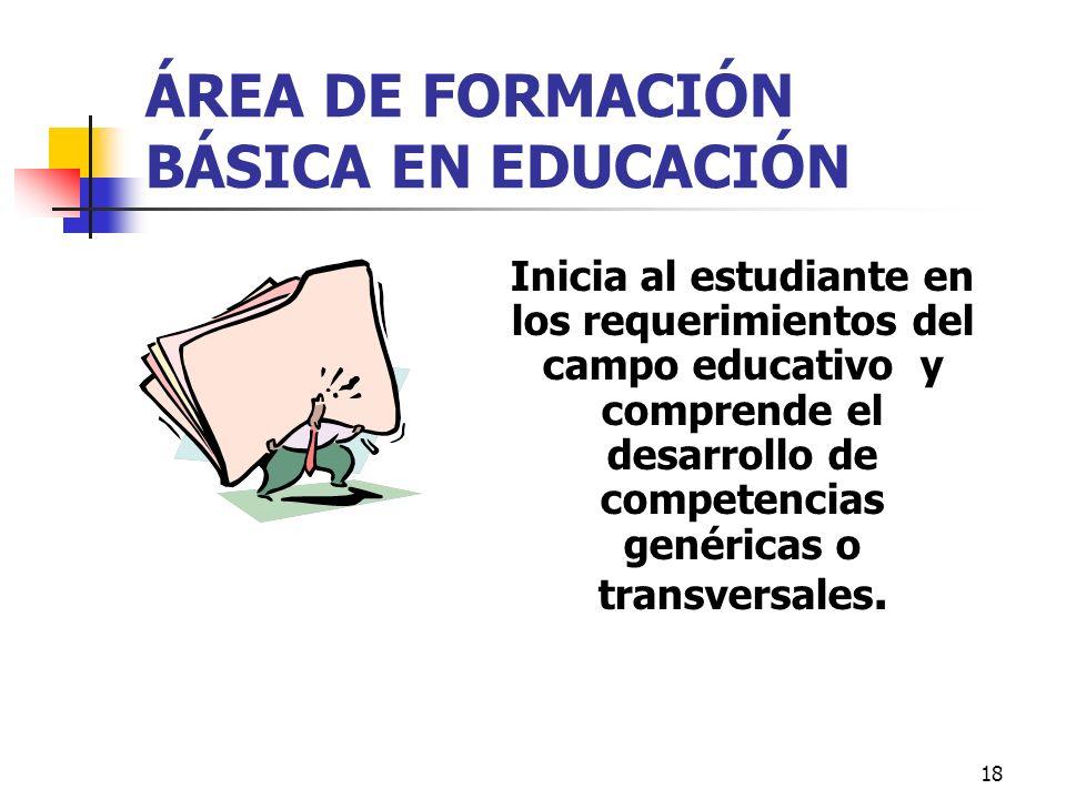 ÁREA DE FORMACIÓN BÁSICA EN EDUCACIÓN