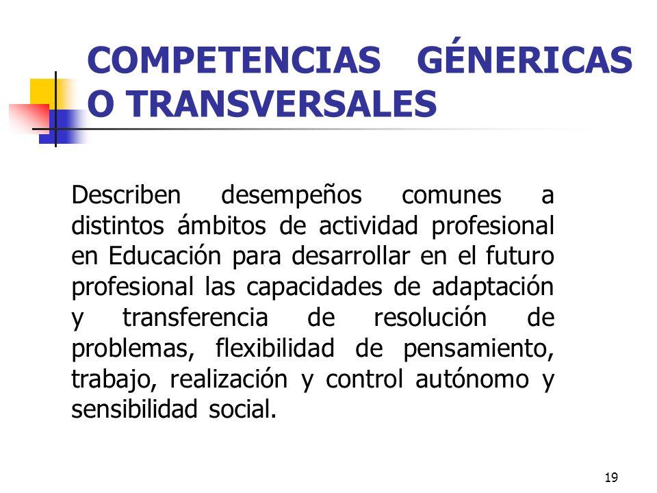 COMPETENCIAS GÉNERICAS O TRANSVERSALES