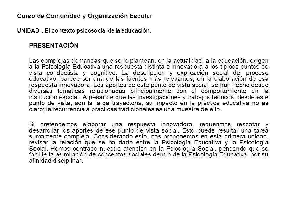 Curso de Comunidad y Organización Escolar UNIDAD I