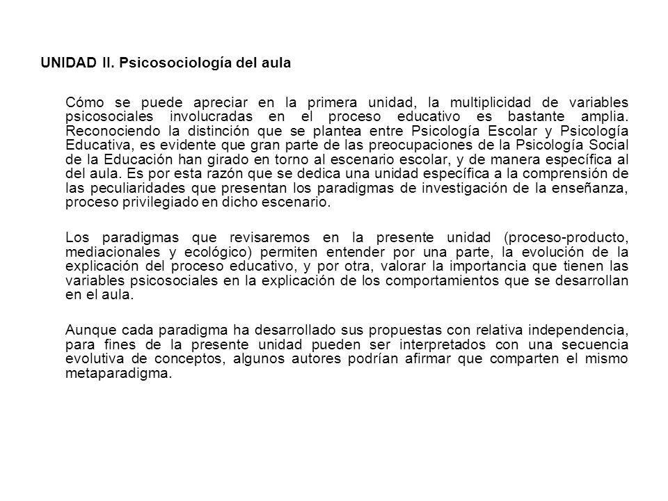 UNIDAD II. Psicosociología del aula