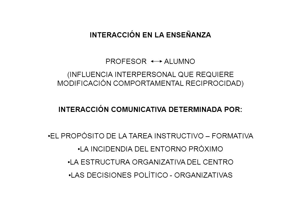 INTERACCIÓN EN LA ENSEÑANZA INTERACCIÓN COMUNICATIVA DETERMINADA POR: