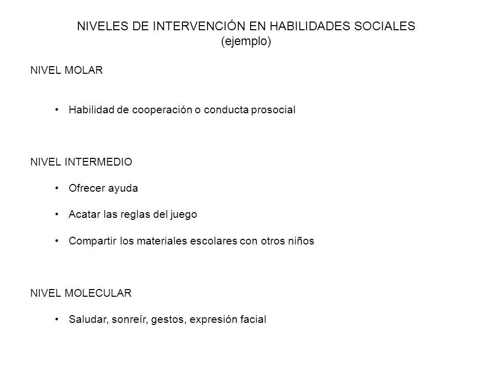 NIVELES DE INTERVENCIÓN EN HABILIDADES SOCIALES (ejemplo)
