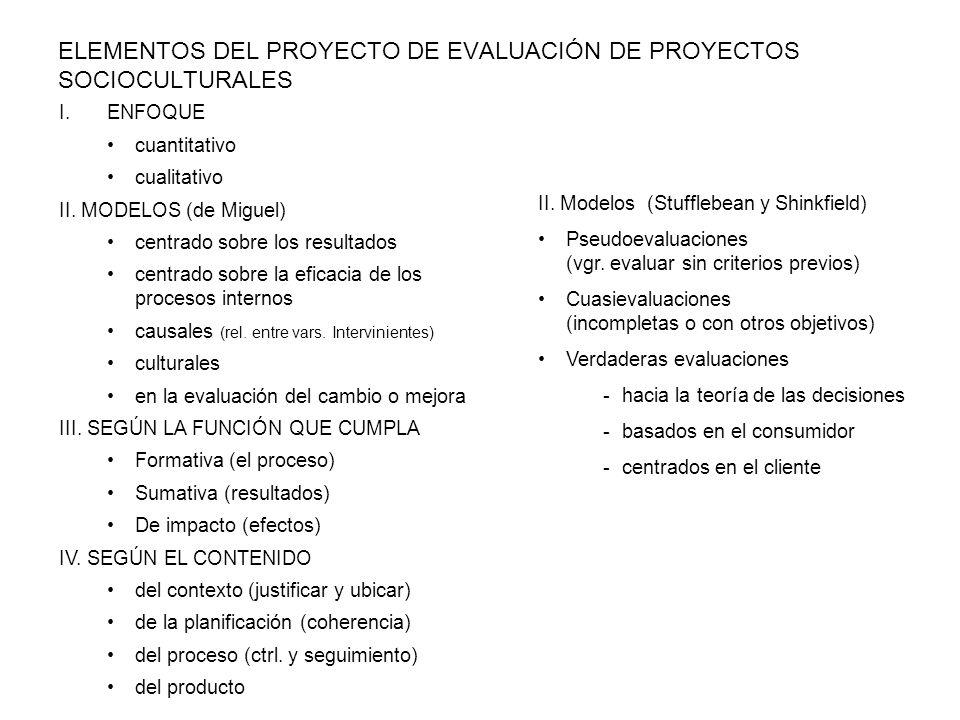 ELEMENTOS DEL PROYECTO DE EVALUACIÓN DE PROYECTOS SOCIOCULTURALES