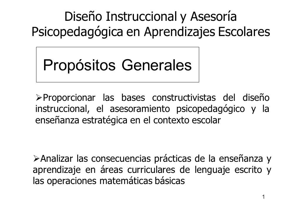 Propósitos Generales Diseño Instruccional y Asesoría
