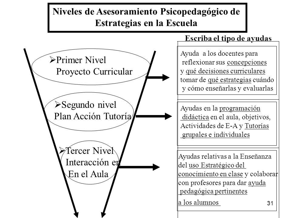 Niveles de Asesoramiento Psicopedagógico de Estrategias en la Escuela