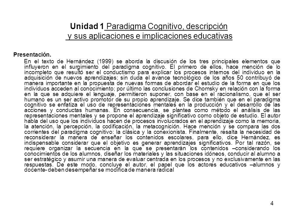 Unidad 1 Paradigma Cognitivo, descripción y sus aplicaciones e implicaciones educativas