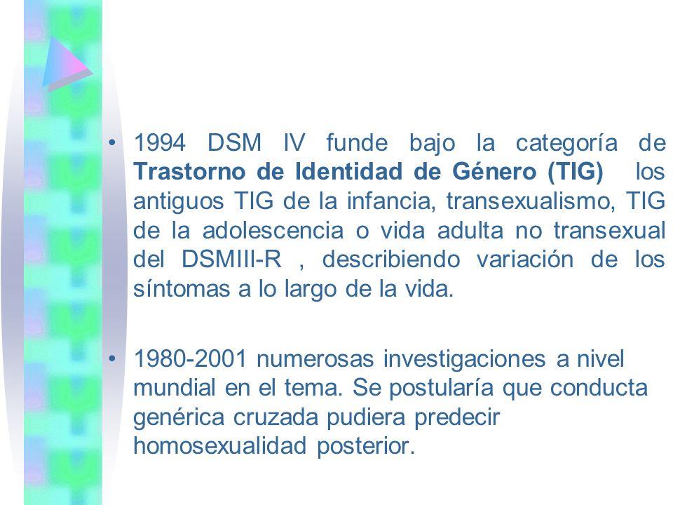 1994 DSM IV funde bajo la categoría de Trastorno de Identidad de Género (TIG) los antiguos TIG de la infancia, transexualismo, TIG de la adolescencia o vida adulta no transexual del DSMIII-R , describiendo variación de los síntomas a lo largo de la vida.