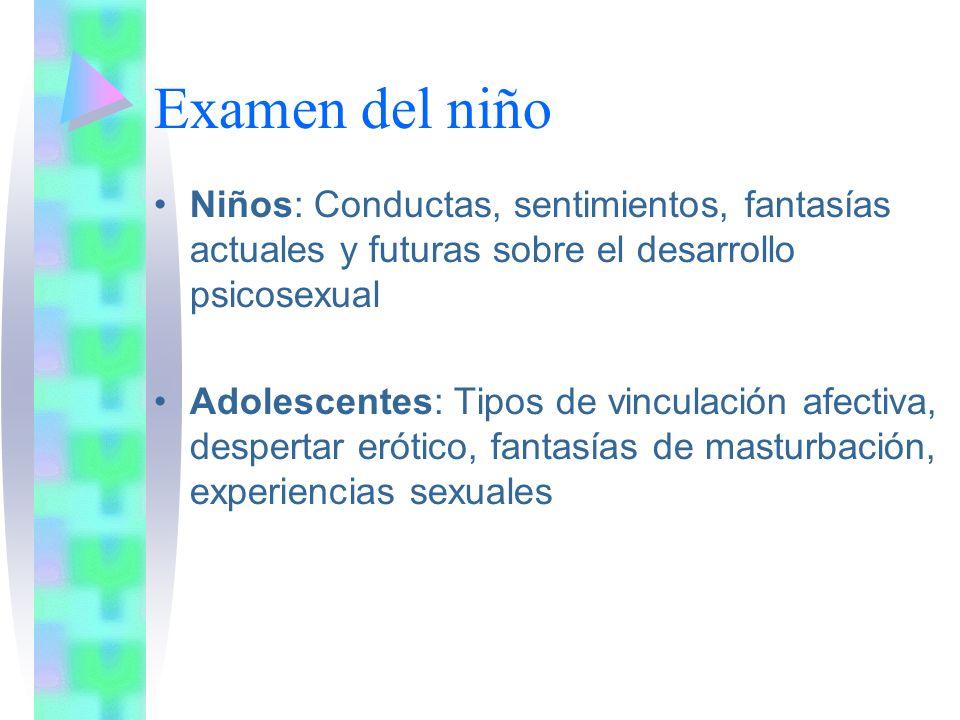 Examen del niño Niños: Conductas, sentimientos, fantasías actuales y futuras sobre el desarrollo psicosexual.