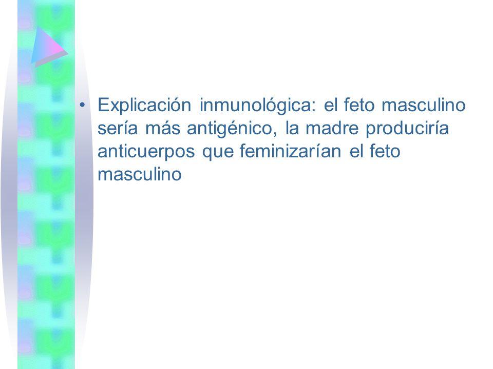 Explicación inmunológica: el feto masculino sería más antigénico, la madre produciría anticuerpos que feminizarían el feto masculino