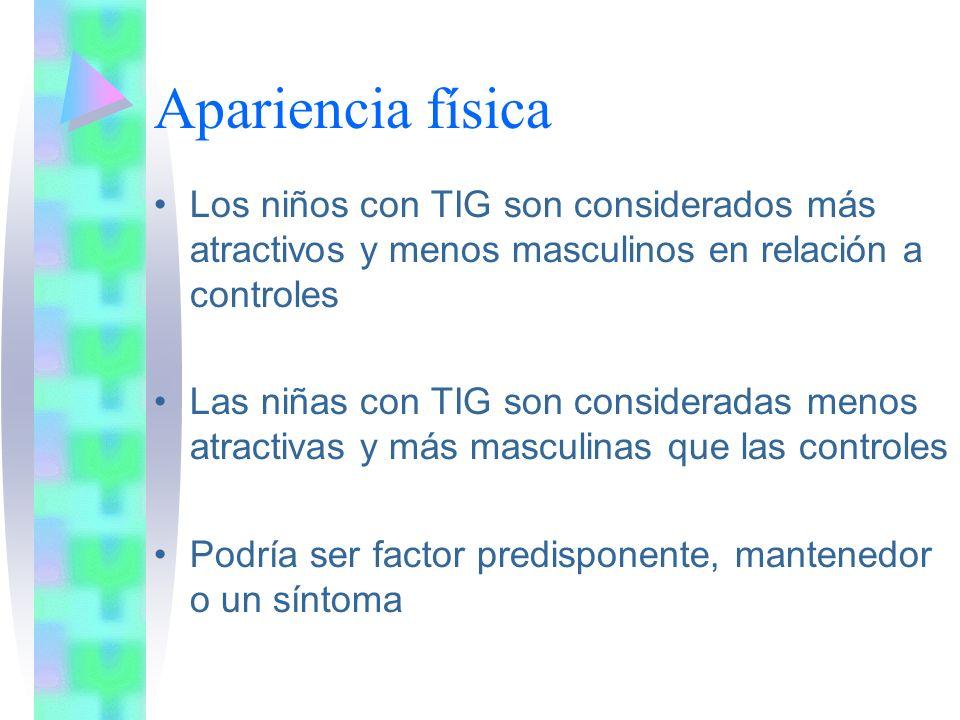 Apariencia física Los niños con TIG son considerados más atractivos y menos masculinos en relación a controles.
