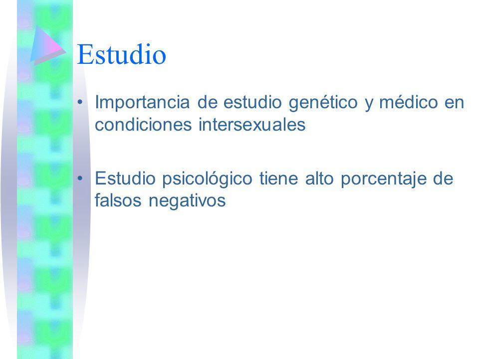 Estudio Importancia de estudio genético y médico en condiciones intersexuales.