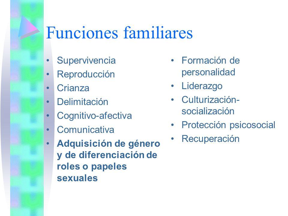 Funciones familiares Supervivencia Reproducción Crianza Delimitación