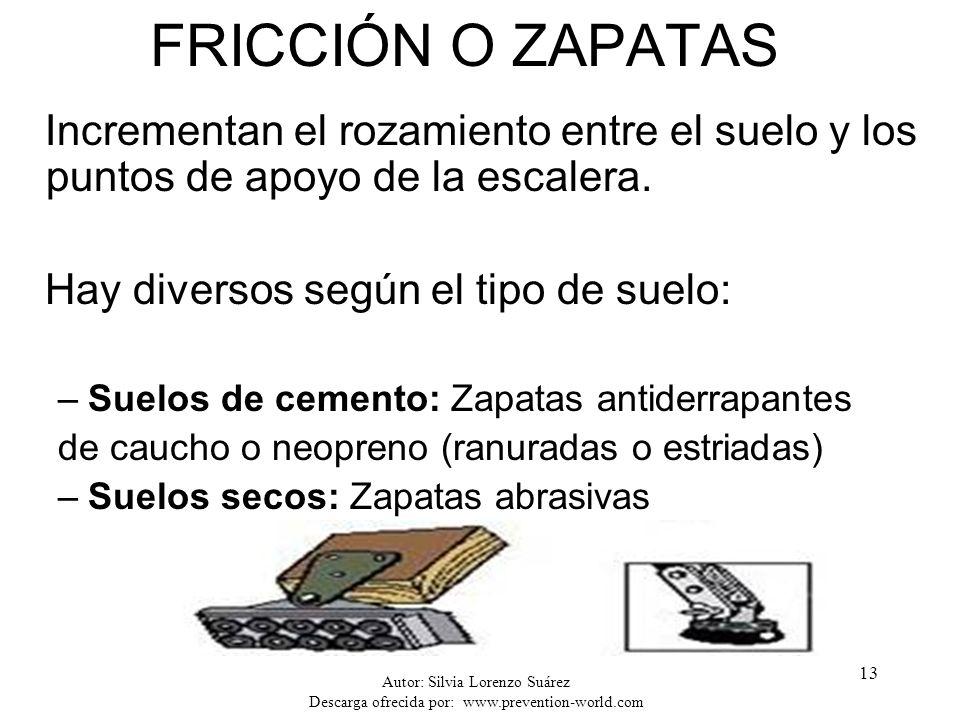 FRICCIÓN O ZAPATAS Incrementan el rozamiento entre el suelo y los puntos de apoyo de la escalera. Hay diversos según el tipo de suelo: