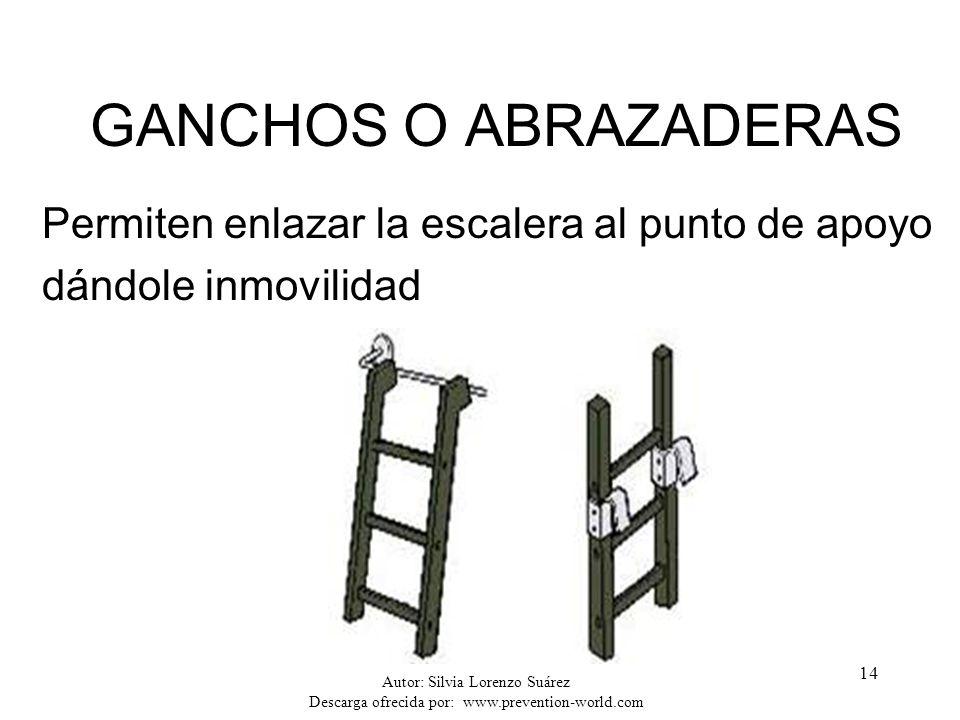 GANCHOS O ABRAZADERAS Permiten enlazar la escalera al punto de apoyo