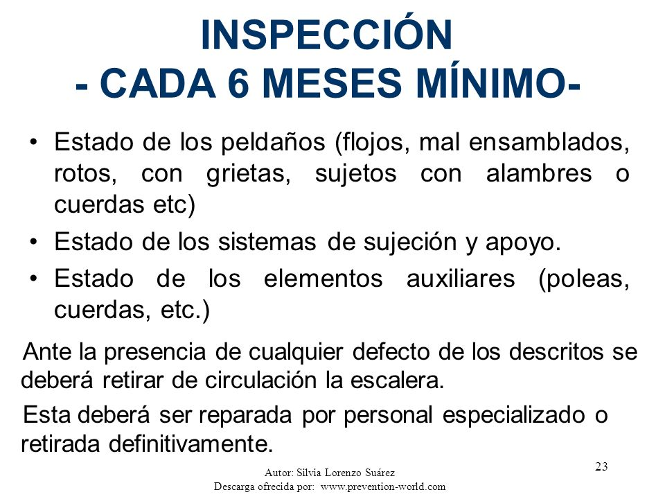INSPECCIÓN - CADA 6 MESES MÍNIMO-