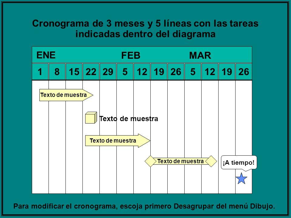 Cronograma de 3 meses y 5 líneas con las tareas indicadas dentro del diagrama