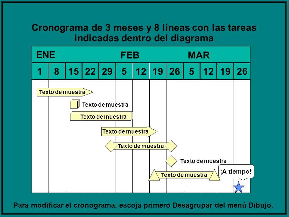 Cronograma de 3 meses y 8 líneas con las tareas indicadas dentro del diagrama