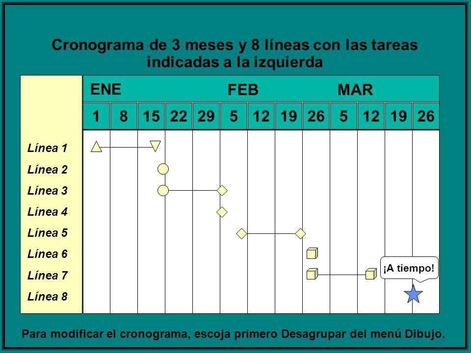 Cronograma de 3 meses y 8 líneas con las tareas indicadas a la izquierda